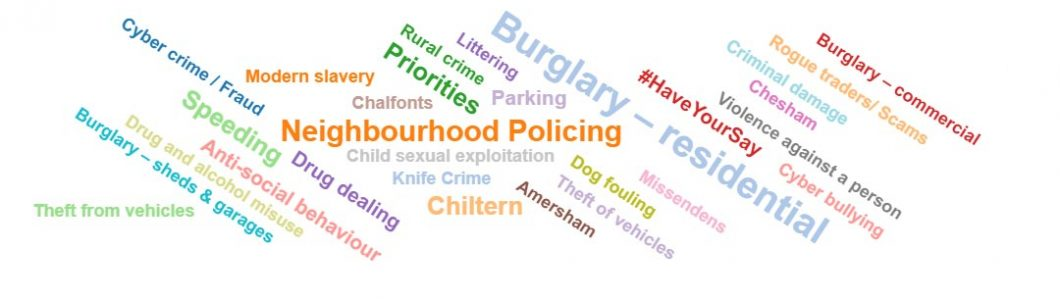 word cloud showing neighbourhood policing priorities