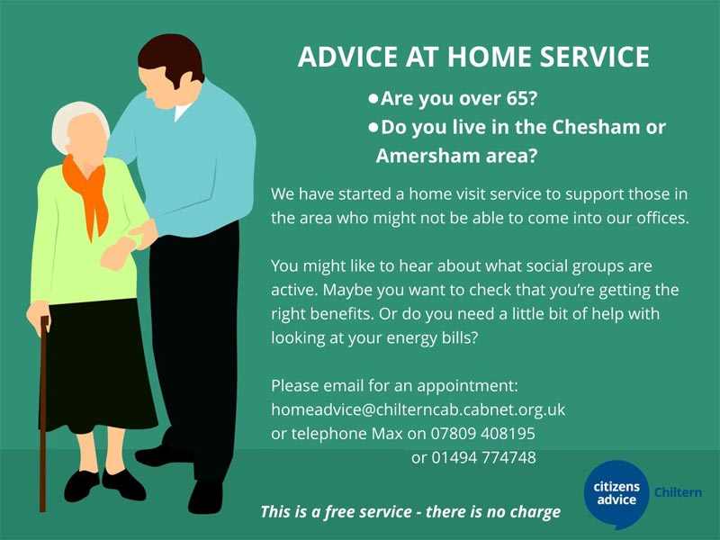 Chiltern CAB Advice at Home poster