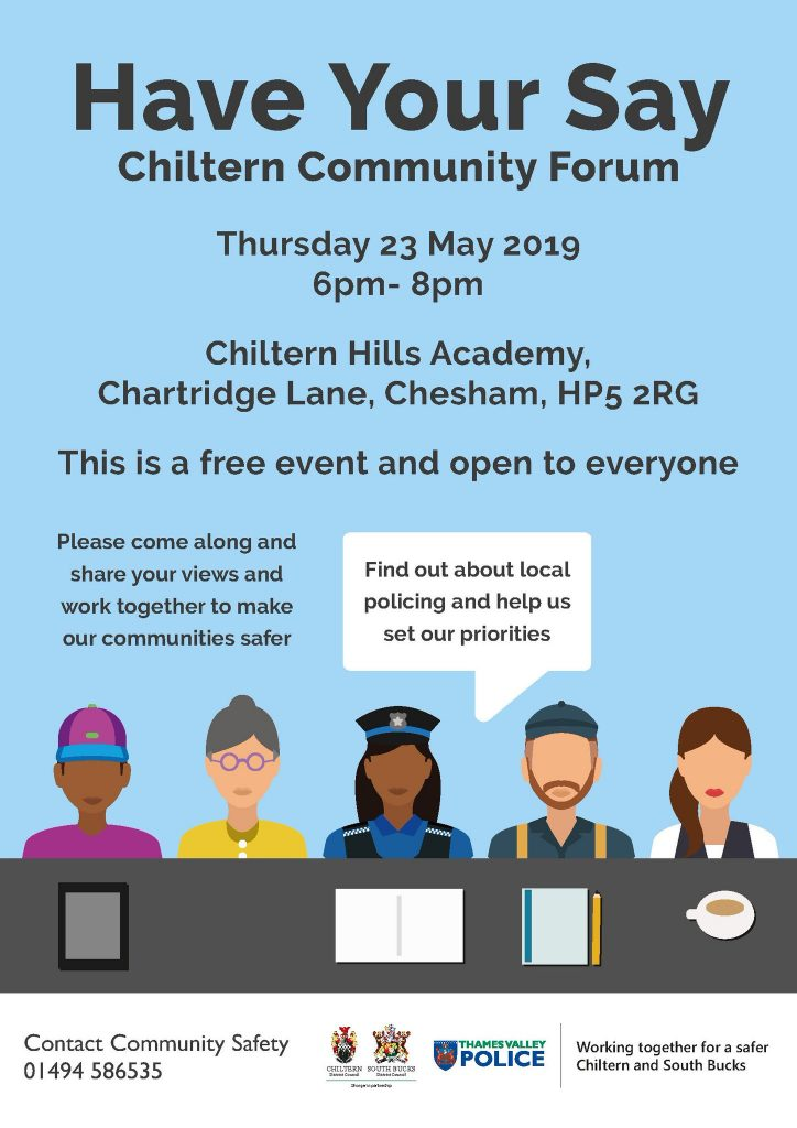poster for chiltern community forum meeting may 2019