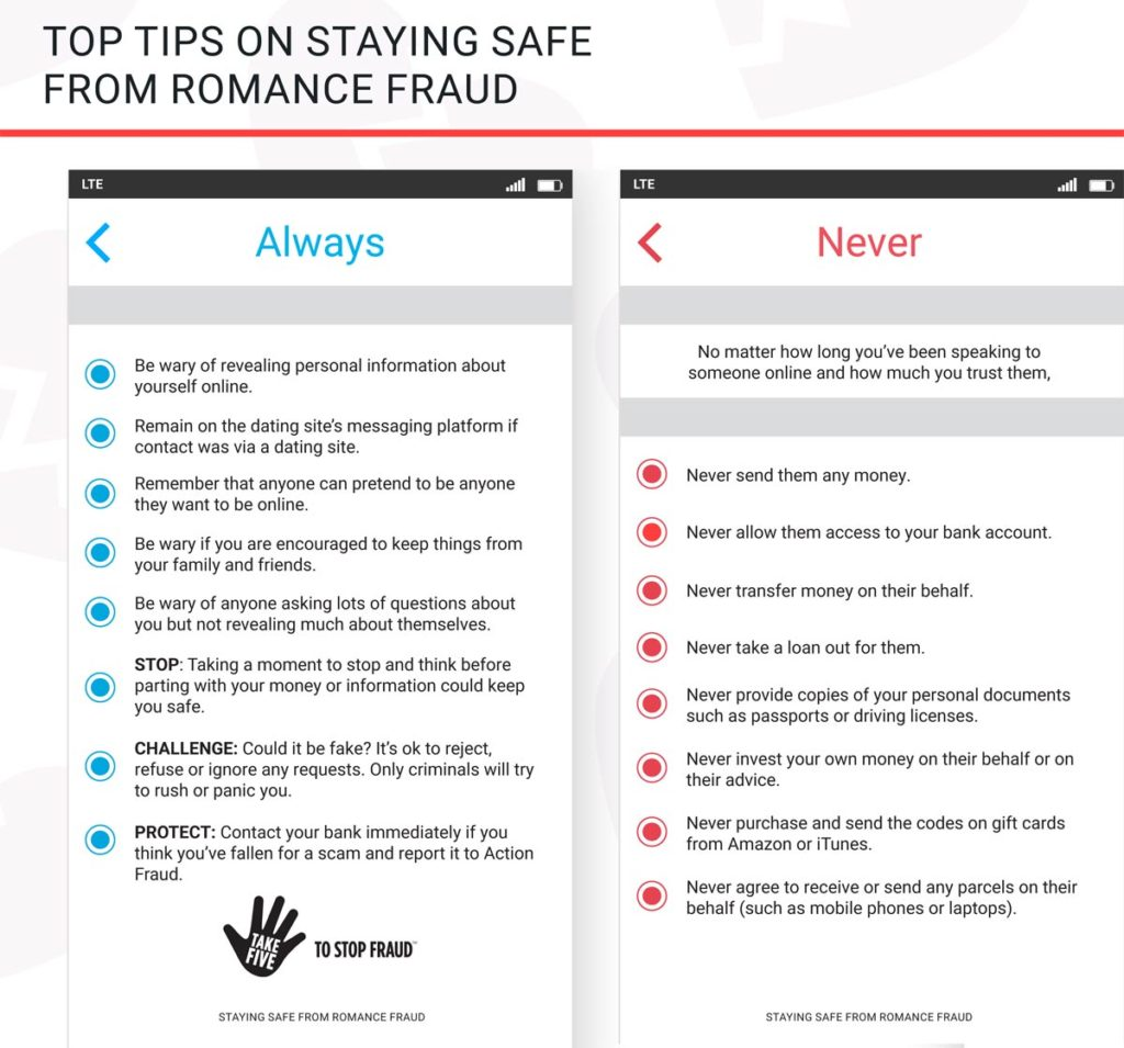 top tips from Staying Safe from Romance Fraud e-book