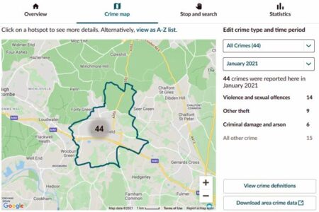 screenshot of crime map data beaconsfield jan 21