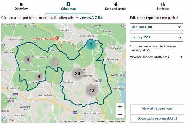 screenshot of crime map data denham and gerrards cross jan 21