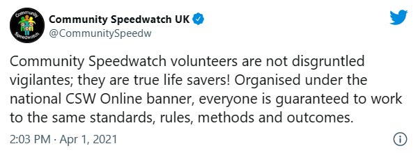 image of tweet from community speedwatch