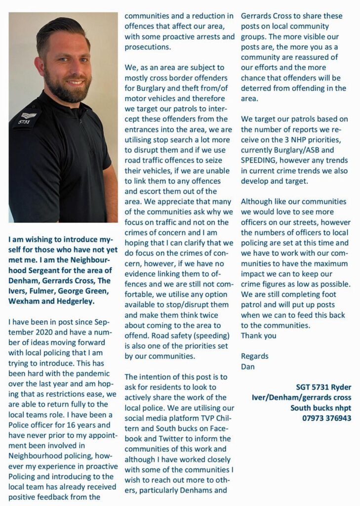 article by neighbourhood policing sergeant dan ryder in in and around iver magazine august 21