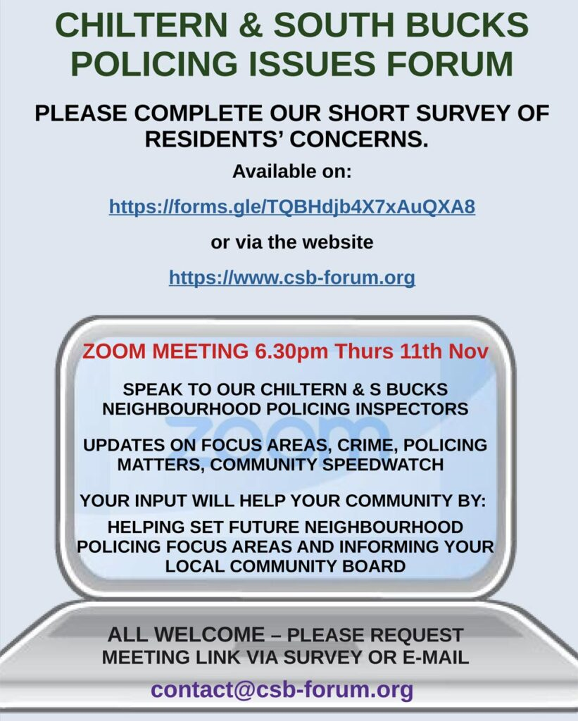 November 2021 Chiltern & S Bucks Policing Issues Forum poster